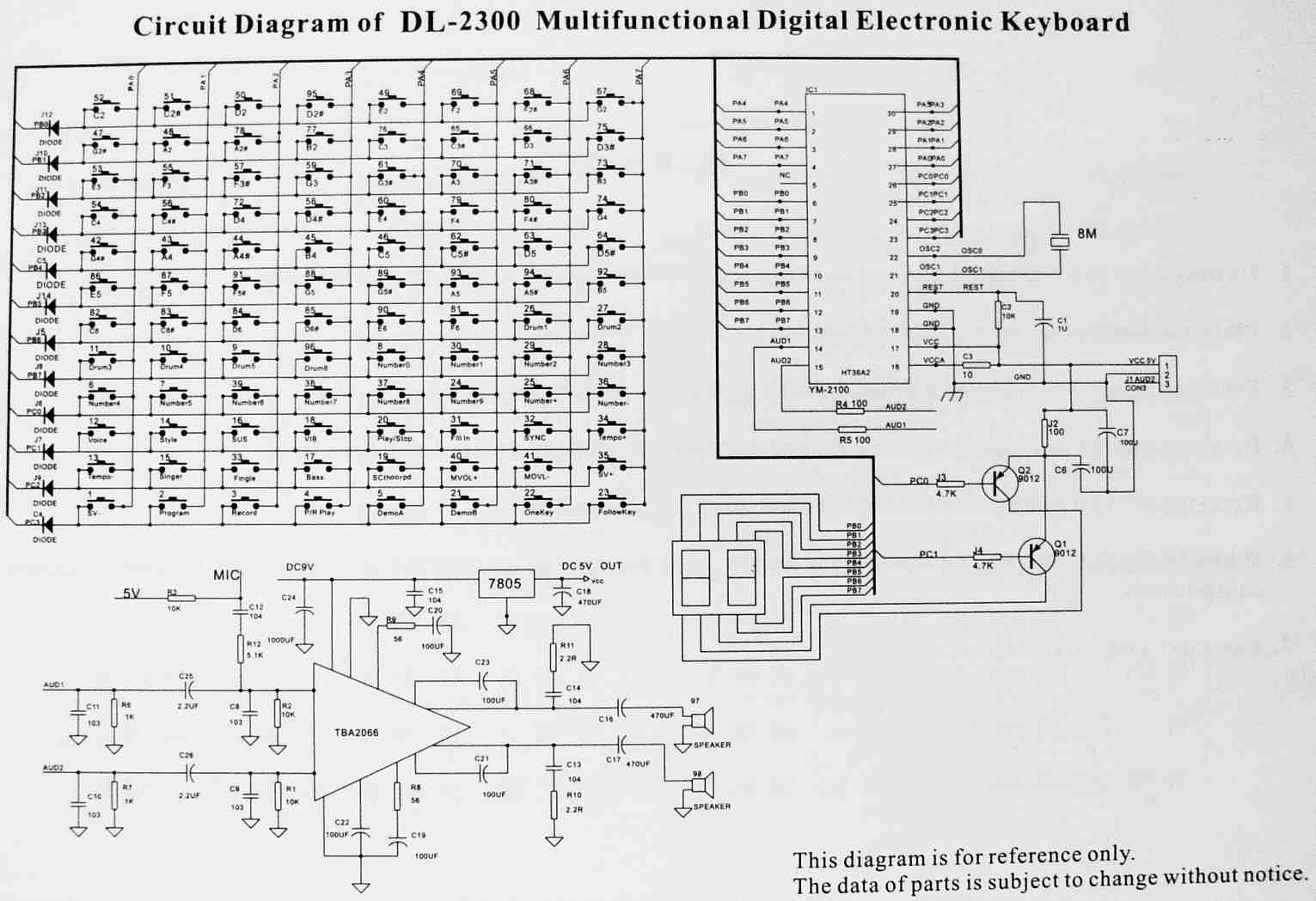 Yongmei Dl 2300 Organ Schematic Diagrams On Guitar Amp Circuit Wiring Diagram Layout Main Features